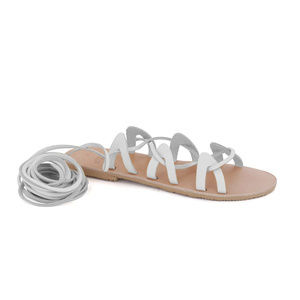 GREEK LEATHER SANDALS 'ANDROMEDA White